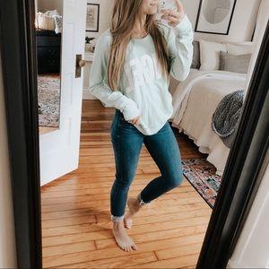 Victoria's Secret Aqua ANGEL Crewneck Pullover